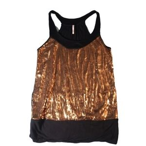 Women's sexy gold sequin sparkle tank top 2x kiwi